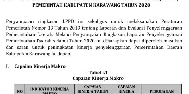 Informasi Laporan Penyelenggaraan Pemerintahan Daerah Kabupaten Karawang 2020